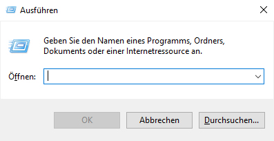 """Windows 10 """"Ausführen"""" Fenster"""