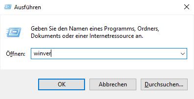 """Windows 10 """"Ausführen"""" Fenster (Inhalt)"""