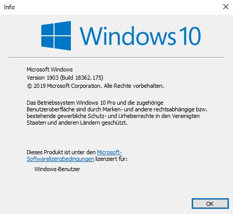 Windows 10 Fenster (Version und Build)