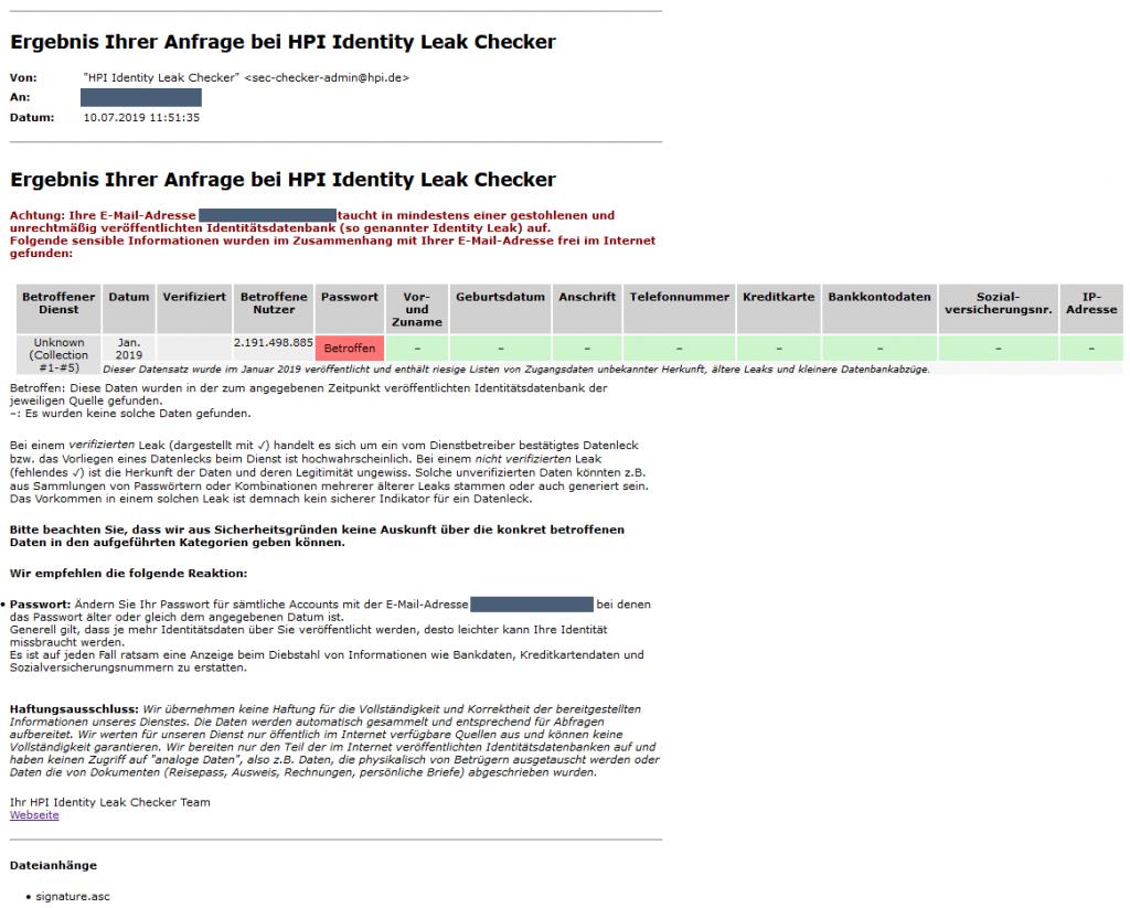 E-Mail HPI Identity Leak Checker (Beispiel)
